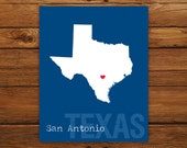 Custom Texas, Personalized State Print, State Love, State Map, Country, Heart, Silhouette, 8 x 10 Wall Art Print