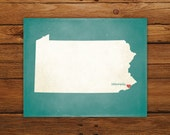Customized Pennsylvania 8 x 10 State Art Print, State Map, Heart, Silhouette, Aged-Look Print