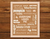 Kitchen Art Print - Everyone Loves Pie in Caramel - Typography Wall Art