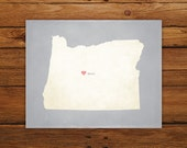 Customized Oregon 8 x 10 State Art Print, State Map, Heart, Silhouette, Aged-Look Print