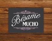 """Bésame Mucho 5x7"""" Print - Black & Pink"""