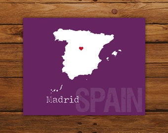 Custom Spain, Personalized Country Print, Country Love, Country Map, Country, Heart, Silhouette, 8 x 10 Wall Art Print