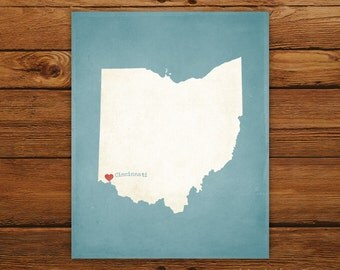Customized Ohio State Art Print, State Map, Heart, Silhouette, Aged-Look Print