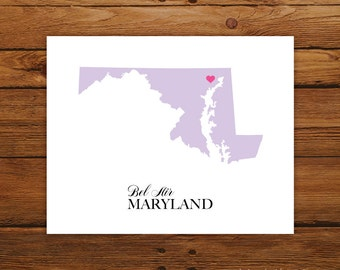 Maryland State Love Map Silhouette 8x10 Print - Customized