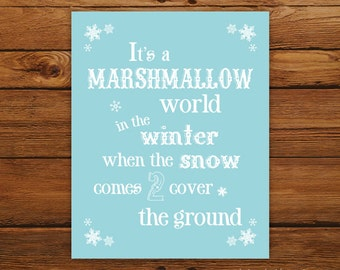 Marshmallow World Christmas Print - Christmas Song in Blue