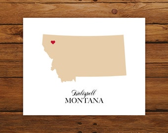 Montana State Love Map Silhouette 8x10 Print - Customized