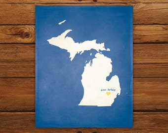 Customized Michigan 8 x 10 State Art Print, State Map, Heart, Silhouette, Aged-Look Print