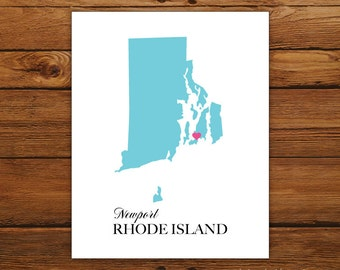 Rhode Island State Love Map Silhouette 8x10 Print - Customized