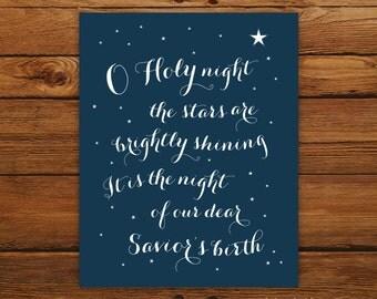 "O Holy Night 8x10"" Christmas Print - Christmas Song in Dark Blue"