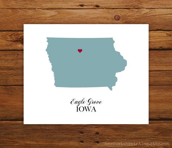 Iowa State Love Map Silhouette 8x10 Print - Customized