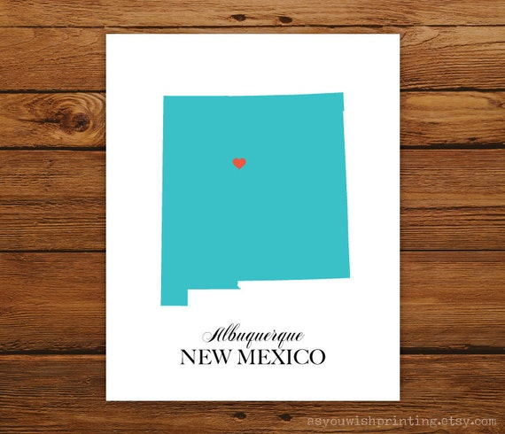New Mexico State Love Map Silhouette 8x10 Print - Customized