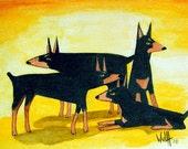 "Art Print ""Canis Impervious"" aka ""Dobes"""