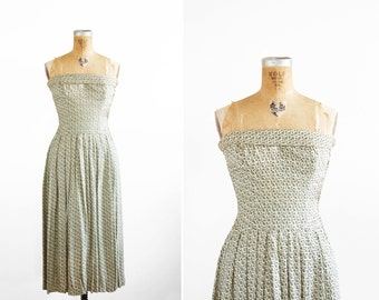 1950s Dress - 50s Dress - Ceil Chapman Strapless Printed Dress