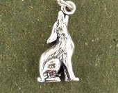 Howling Coyote Charm Pendant 3d Sterling Silver 925