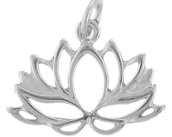 Sterling Silver Lotus Flower Charm Pendant