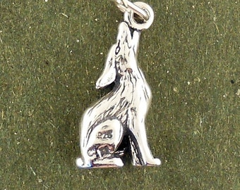 Sterling Silver Howling Coyote Charm 3D Pendant