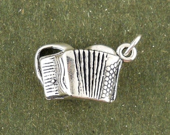 Accordion Charm Pendant 3d Musical Instrument Sterling Silver 925
