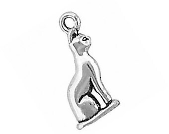 Sterling Silver Cat Charm Sitting Pendant 3D