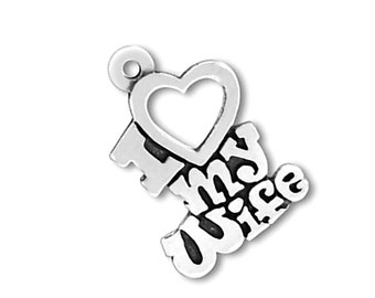 SALE Sterling Silver I Love My Wife Heart Charm Pendant Words Marked 40% off Regular Price
