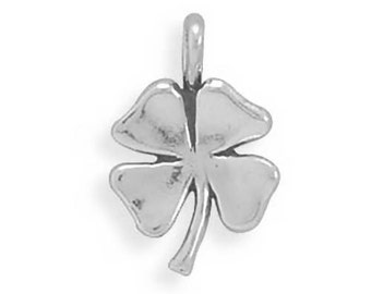 Good Luck Four Leaf Clover Lucky Charm Pendant Sterling Silver 925
