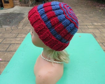 Hand Knitted Red and Blue -  Beanie  for Baby up to 12 months
