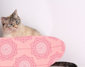 Cat Canoe Cat Bed in Pink Flower Fabric from the Cottage Wallpaper Collection