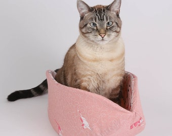 The Cat Canoe Kitty Bed in Pink Kitten Fabric