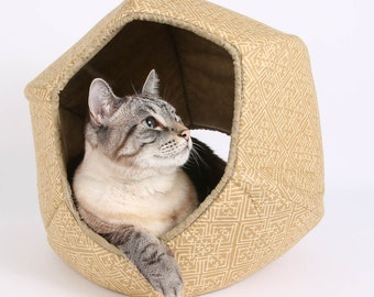 Modern Cat Furniture in Golden Celtic Knot Cotton Fabric the Cat Ball Cat Bed