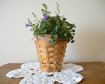 80s Wooden Wicker Flower Basket Vintage Interior Design Made In USSR