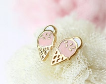 N002 Ice Cream Cone Earrings / choose your color, gold and silver