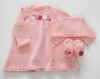 Knitted baby dress, cap and shoes set. Baby girl, in pink. 100% merino wool. READY to SHIP in size Newborn