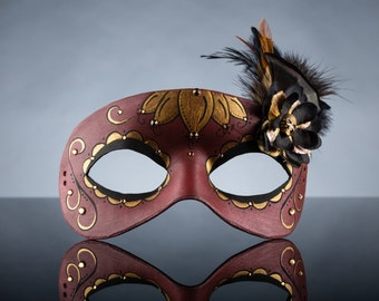 Deluxe Dark Red & Gold Day of the Dead Lotus Flower Leather Masquerade Mask, OOAK
