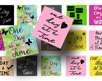 One day at a time 1 Inch squares-One day at a time digital download-Recovery images-Magnets, Key chains, Inspirational squares, Inchies