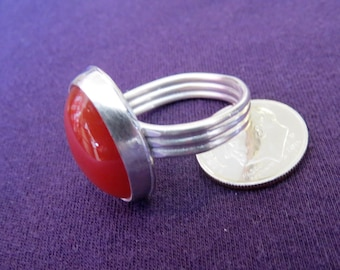 Red Carnelian Agate in Argentium Sterling Ring Size 11