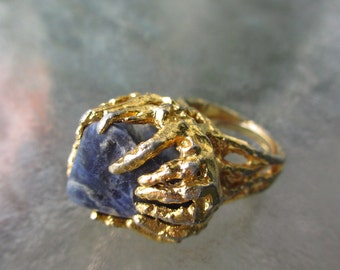 Vintage Mod Brutalist Lapis Lazuli Ring 7.5