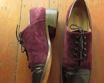 60's Vintage Hippie Mod Purple Two-Tone Oxfords All leather 8.5