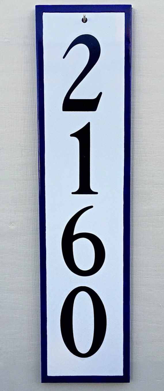 Vertical House Number Tile Address Plaque With Blue Or