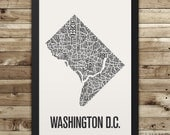 WASHINGTON DC Neighborhood Typography City Map Print