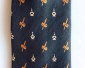 1960s Silk SWORD Dagger Black and Orange Vintage Necktie