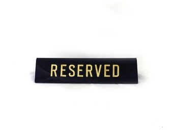 Vintage 1950s original plastic RESERVED table sign, Made men era RESERVED table sign