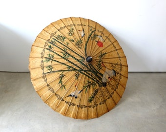 Vintage Chinese bamboo lacquered rice paper hand painted white crane parasol, asian decor