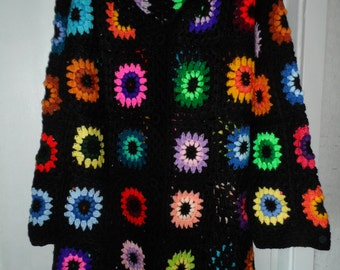 Crochet  granny square puff stitch flowers multicolour kaleidoscope 1960-s hippie bohemian coat jacket Size L/XL Ready to ship!