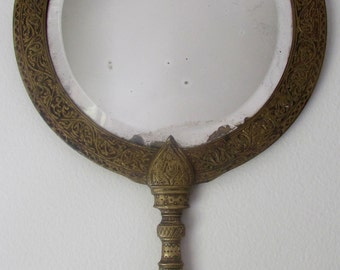 Ornate Brass Vanity Hand Mirror or Wall Mirror