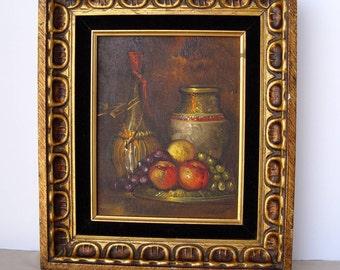 Original Vintage Oil Painting of Wine Bottle Fruit & Vase ~ Still Life ~ Signed T. Grant ~ Dramatic Mood