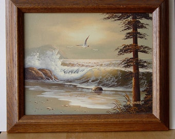 Framed Seascape With Seagulls ~  Ocean Sea Oil PAINTING ~ Birds & Waves Signed B.Power