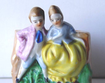 Vintage Small Mini Planter Holder of Couple Figurines ~ Made in Japan ~ So Charming!