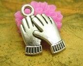 20 pcs Antique Silver Glove Charms 16x13mm CH2293