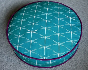Round Cat Bed in Dark Teal Dragonfly Print with Solid Plum Piping