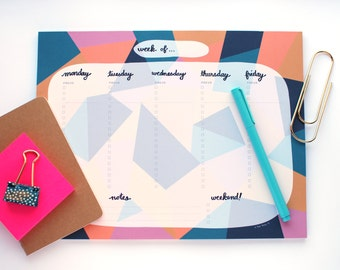 Weekly Calendar Notepad - Weekly Planner - Gift for Her - Weekly To Do List