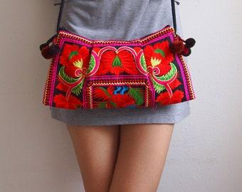 Hmong Vintage Style Ethnic Thai Boho Medium Size Floral design bag
